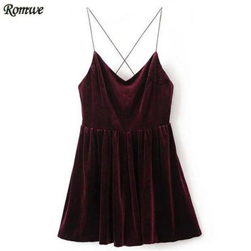 CREYCI7 ROMWE Rompers Womens Jumpsuit Sexy Clubwear Jumpsuits Ladies Sleeveless Spaghetti Strap Cross Back Velvet Romper