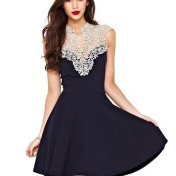 Women's Fashion Lace Patchwork Elegant One Piece Dress [6339002177]