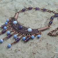 Copper Bib Necklace with Amethyst and Blue Lace Agate Cabochons and Beaded Dangles - Bohemian Beauty