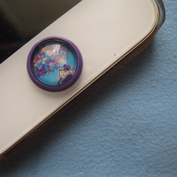 Retro Epoxy Up Transparent Time Gems Alloy Cell Phone Home Button Sticker Charm for iPhone 4,4s,5,5c iPad iTouch