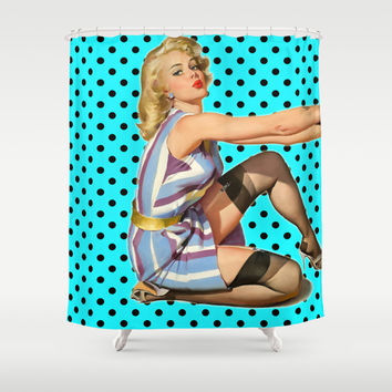 Pin Up Girl Shower Curtain by Ilola