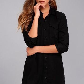 Obey Jett Black Long Sleeve Shirt Dress