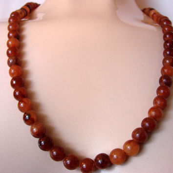 70s Vintage Sarah Coventry Faux Amber Bead Necklace