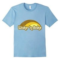 Mens Vintage Wake 'n Bake T-Shirt 2XL Baby Blue