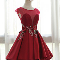 The new embroidery  red dress U collar lace bride dress slim slim dress dress homecoming dress