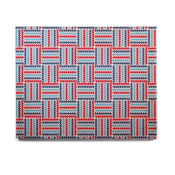 "afe images ""AFE Abstract Basket Weave"" Red Blue Abstract Pattern Digital Illustration Birchwood Wall Art"
