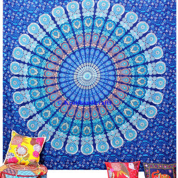 Blue mandala tapestry bohemian bed cover hippie wall hanging indian dorm decor tapestry large size tapestry queen bedding bed sheet throw