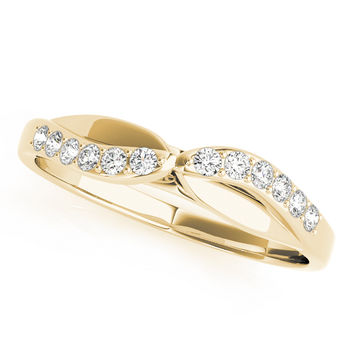 Wedding Band - Swirl Diamond Matching Wedding Band in Yellow Gold