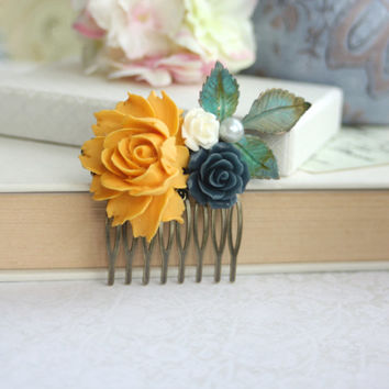 Yellow, Navy Dark Blue, Verdigris Patina Wedding Flower Comb. Teal Blue Bridal Hair, Yellow Wedding. Fall Rustic Wedding, Bridesmaids Gifts