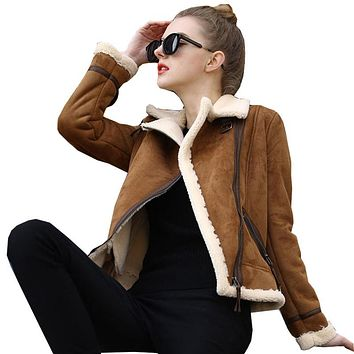 2017 Shearling Sheepskin Coat Winter Lamb Wool Faux Leather Jacket Thicken Long Sleeve Furry Motorcycle Fur Suede Jackets JS3082