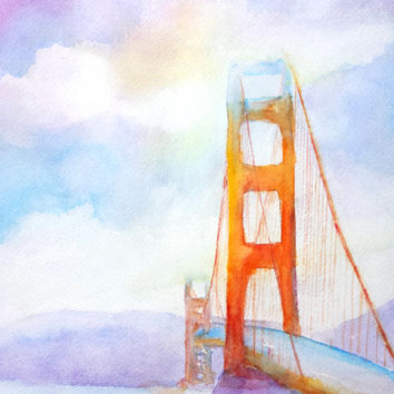Original Watercolor Bridge Painting,Golden Gate Bridge,9x12, San Francisco City,California,USA famous landmark, architecture,beach,landscape