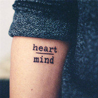 5pcs Waterproof Temporary Tattoo Stickers Heart Mind Letters Tattoo Fake Tattoo