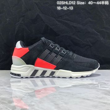KUYOU A368 Adidas EQT RF Support 93 Suede Retro Running Shoes Black Red
