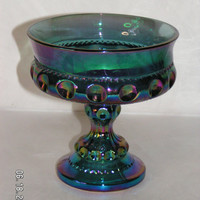 Vintage Blue Iridescent King's Crown Thumbprint Carnival Glass Compote Dish Collectible