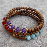 amazonite, amethyst, carnelian and African trade bead mala bracelet stack