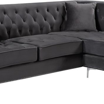 Damian Grey Velvet 2pc. Reversible Sectional