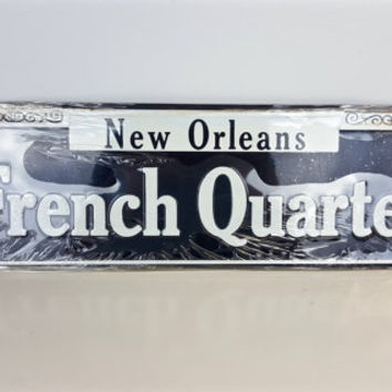 Vintage New Orleans French Quarter Sign, Collectible Street Sign, New Orleans Souvenir, French Quarter Souvenir, Black White Metal Wall Sign