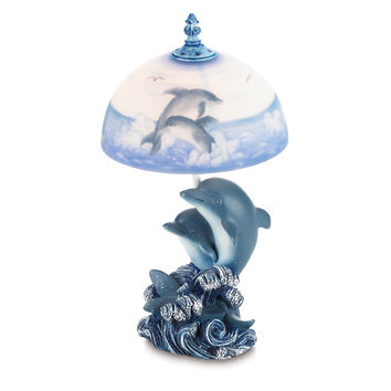 Blue Dolphin Glass Lamp