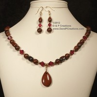 Brecciated Jasper Swarovski Ruby Crystal Necklace Earrings