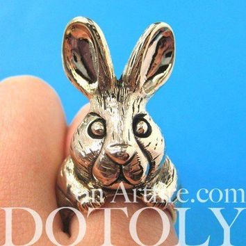 3D Alice In Wonderland Bunny Rabbit Adjustable Animal Ring in Gold | DOTOLY