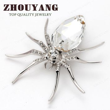 Brooches Quality White Spider 18K White Gold Plated Austrian Crystal