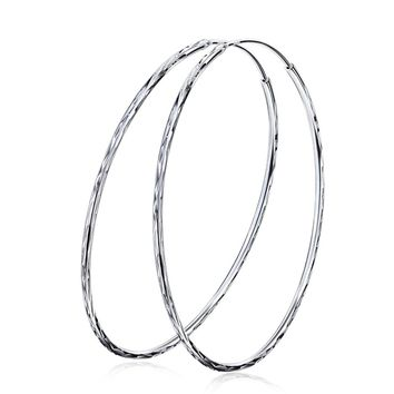 925 Sterling Silver Jewelry Hoop Earrings Annular Big Huge Size Diameter 60mm Girls Women Female Gift Party Brincos Aretes