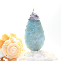 Dominican Larimar Cloudy Sky Marbled Blue wire wrapped pendant silver pectolite stone bohemian surf necklace handmade unisex men children