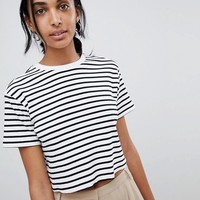 ASOS DESIGN Boxy Crop Stripe T-Shirt In Rib at asos.com