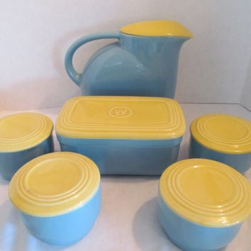 Westinghouse blue and yellow refrigerator storage containers set ceramic set of 6 Made by Hall China Company USA  Vintage 1950s