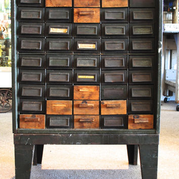 Vintage Industrial Metal 50 Drawer Tool Craft Storage Cabinet Card Catalog