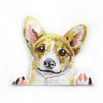 Heat Press-On Pocket Corgi Embroidery