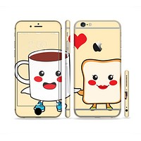 The Cute Toast & Mug Breakfast Couple Sectioned Skin Series for the Apple iPhone 6s