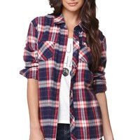 Volcom Explosive Long Sleeve Plaid Shirt - Womens Shirts - Blue