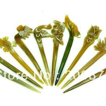 L069 Hairsticks Tibet Yak Horn Hair Stick carved Animals flowers hairpin Mix 10pcs lot