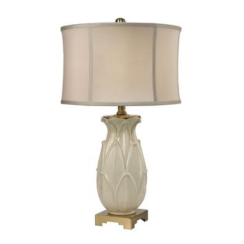 D2598 Ceramic Leaf Table Lamp in Cream Crackle And Antique Brass - Free Shipping!