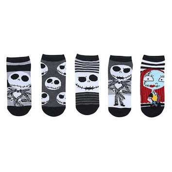The Nightmare Before Christmas Jack & Sally Stripes No-Show Socks 5 Pair