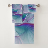 Colorful Modern Pink Blue Turquoise Fractal Art Bath Towel Set