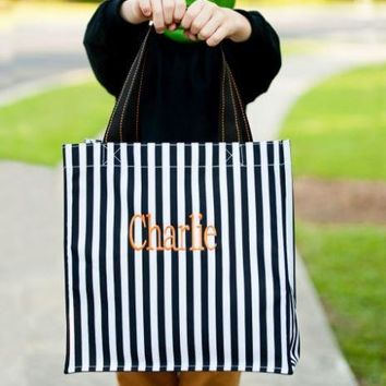 Black Stripe Halloween Tote (monogram not included but can be added)