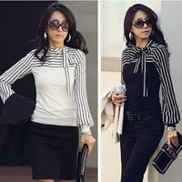 2015 New Over Size S M L XL 2XL 3XL 4XL Women Ladies Black White Stripe Bow Turtleneck Long Lantern Sleeve Blouse Shirt = 1958672708