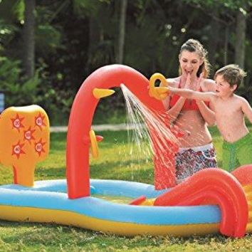 By PoolCentral 88.5 inch  Inflatable Children's Interactive Water Play Center with Slide