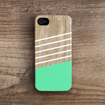 Mint iPhone 5s case Mint iPhone case Mint iphone 4s case stripe iphone case wood iphone 5s case plastic iphone case high quality TPU c185