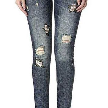 ONETOW Miss Me Vintage Blue & Floral Embroidered Ankle Skinny Jeans