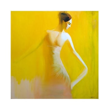 Yellow Ballet - Dancer Painting - Woman Art - Original Oil Painting - Pretty Woman Painting in Greek Style by  Yuri Pysar