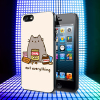 Pusheen The Cat Eat Every Thing iPhone 4, 4S, 5, 5C, 5S Samsung Galaxy S2, S3, S4 Case