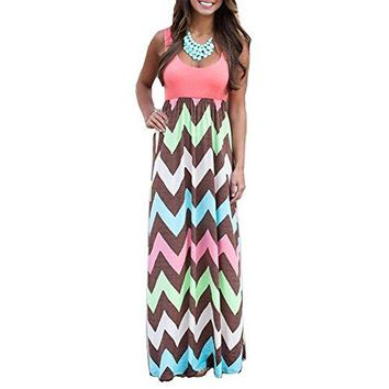 Youndcc Womens Zig Zag Scoop Neck Wave Striped Tank Maxi Long Dress