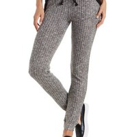 Heather Gray Combo Marled Knit Drawstring Pants by Charlotte Russe