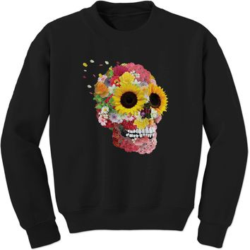 Sunflower Skull Adult Crewneck Sweatshirt