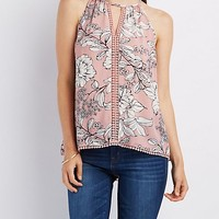 Floral Crochet-Trim Tank Top