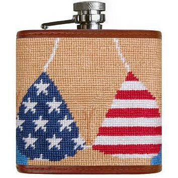 Patriotic Bikini Needlepoint Flask by Smathers & Branson