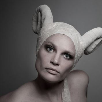 Horned headpiece Off White suede leather ram horns and headdress Burning man spectacular headgear